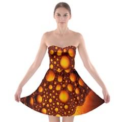 Bubbles Abstract Art Gold Golden Strapless Bra Top Dress
