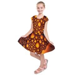 Bubbles Abstract Art Gold Golden Kids  Short Sleeve Dress