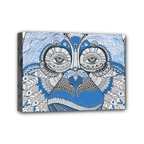 Pattern Monkey New Year S Eve Mini Canvas 7  X 5