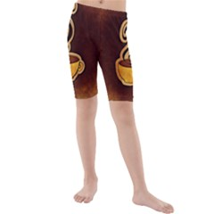 Coffee Drink Abstract Kids  Mid Length Swim Shorts