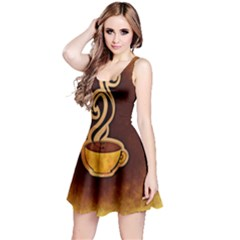 Coffee Drink Abstract Reversible Sleeveless Dress