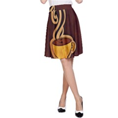 Coffee Drink Abstract A-Line Skirt