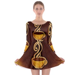 Coffee Drink Abstract Long Sleeve Skater Dress