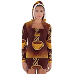 Coffee Drink Abstract Women s Long Sleeve Hooded T-shirt