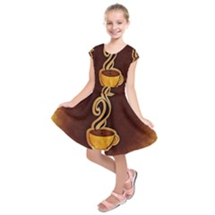Coffee Drink Abstract Kids  Short Sleeve Dress