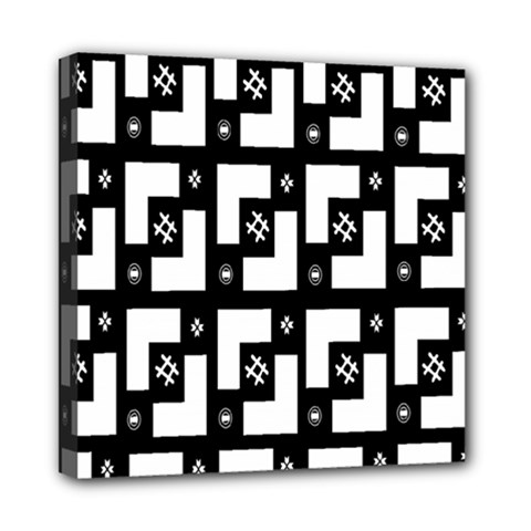 Abstract Pattern Background  Wallpaper In Black And White Shapes, Lines And Swirls Mini Canvas 8  X 8