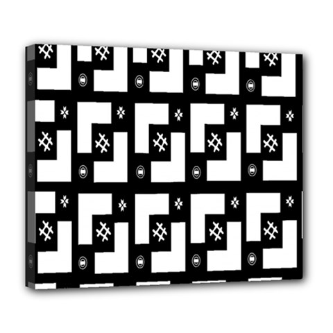 Abstract Pattern Background  Wallpaper In Black And White Shapes, Lines And Swirls Deluxe Canvas 24  x 20