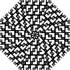 Abstract Pattern Background  Wallpaper In Black And White Shapes, Lines And Swirls Hook Handle Umbrellas (Large)