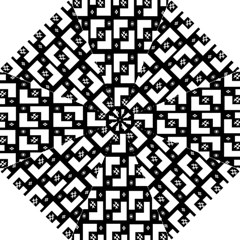 Abstract Pattern Background  Wallpaper In Black And White Shapes, Lines And Swirls Hook Handle Umbrellas (Small)