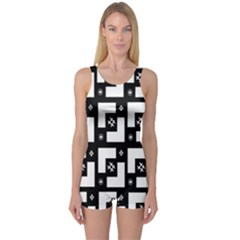 Abstract Pattern Background  Wallpaper In Black And White Shapes, Lines And Swirls One Piece Boyleg Swimsuit