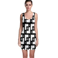 Abstract Pattern Background  Wallpaper In Black And White Shapes, Lines And Swirls Sleeveless Bodycon Dress
