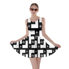 Abstract Pattern Background  Wallpaper In Black And White Shapes, Lines And Swirls Skater Dress