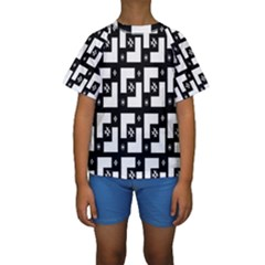 Abstract Pattern Background  Wallpaper In Black And White Shapes, Lines And Swirls Kids  Short Sleeve Swimwear