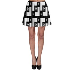 Abstract Pattern Background  Wallpaper In Black And White Shapes, Lines And Swirls Skater Skirt