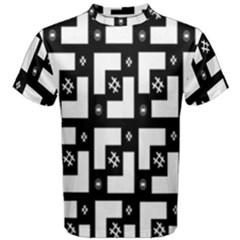 Abstract Pattern Background  Wallpaper In Black And White Shapes, Lines And Swirls Men s Cotton Tee
