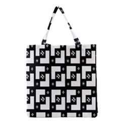 Abstract Pattern Background  Wallpaper In Black And White Shapes, Lines And Swirls Grocery Tote Bag