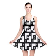 Abstract Pattern Background  Wallpaper In Black And White Shapes, Lines And Swirls Reversible Skater Dress