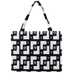 Abstract Pattern Background  Wallpaper In Black And White Shapes, Lines And Swirls Mini Tote Bag