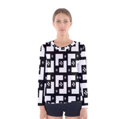 Abstract Pattern Background  Wallpaper In Black And White Shapes, Lines And Swirls Women s Long Sleeve Tee