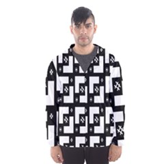Abstract Pattern Background  Wallpaper In Black And White Shapes, Lines And Swirls Hooded Wind Breaker (men)