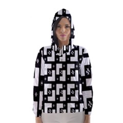 Abstract Pattern Background  Wallpaper In Black And White Shapes, Lines And Swirls Hooded Wind Breaker (women)