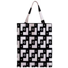 Abstract Pattern Background  Wallpaper In Black And White Shapes, Lines And Swirls Zipper Classic Tote Bag