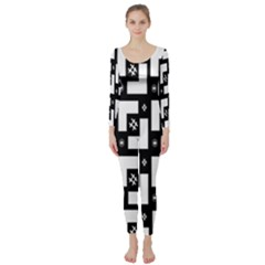 Abstract Pattern Background  Wallpaper In Black And White Shapes, Lines And Swirls Long Sleeve Catsuit
