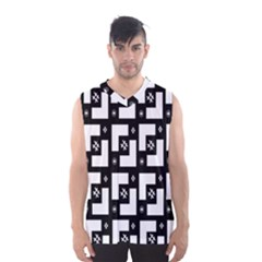 Abstract Pattern Background  Wallpaper In Black And White Shapes, Lines And Swirls Men s Basketball Tank Top