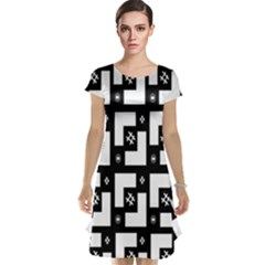 Abstract Pattern Background  Wallpaper In Black And White Shapes, Lines And Swirls Cap Sleeve Nightdress
