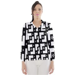 Abstract Pattern Background  Wallpaper In Black And White Shapes, Lines And Swirls Wind Breaker (women)