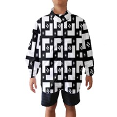Abstract Pattern Background  Wallpaper In Black And White Shapes, Lines And Swirls Wind Breaker (kids)