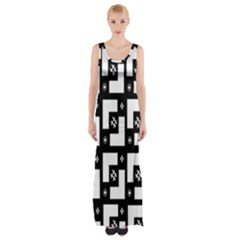 Abstract Pattern Background  Wallpaper In Black And White Shapes, Lines And Swirls Maxi Thigh Split Dress