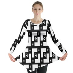Abstract Pattern Background  Wallpaper In Black And White Shapes, Lines And Swirls Long Sleeve Tunic