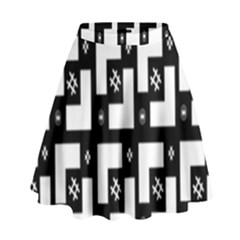 Abstract Pattern Background  Wallpaper In Black And White Shapes, Lines And Swirls High Waist Skirt