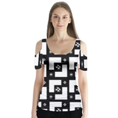 Abstract Pattern Background  Wallpaper In Black And White Shapes, Lines And Swirls Butterfly Sleeve Cutout Tee