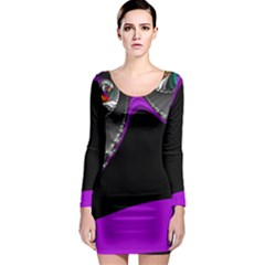 Fractal Background For Scrapbooking Or Other Long Sleeve Bodycon Dress