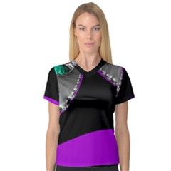 Fractal Background For Scrapbooking Or Other Women s V-Neck Sport Mesh Tee