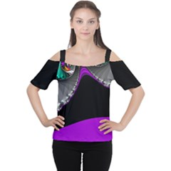 Fractal Background For Scrapbooking Or Other Women s Cutout Shoulder Tee