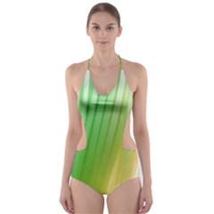 Folded Digitally Painted Abstract Paint Background Texture Cut-Out One Piece Swimsuit