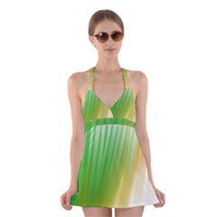 Folded Digitally Painted Abstract Paint Background Texture Halter Swimsuit Dress