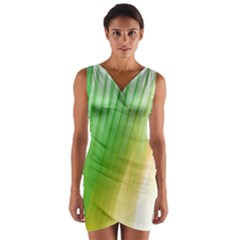 Folded Digitally Painted Abstract Paint Background Texture Wrap Front Bodycon Dress