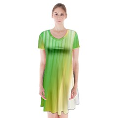 Folded Digitally Painted Abstract Paint Background Texture Short Sleeve V Neck Flare Dress
