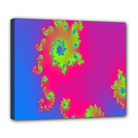 Digital Fractal Spiral Deluxe Canvas 24  X 20
