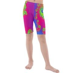 Digital Fractal Spiral Kids  Mid Length Swim Shorts