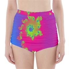 Digital Fractal Spiral High Waisted Bikini Bottoms