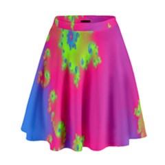 Digital Fractal Spiral High Waist Skirt