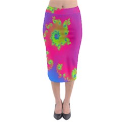 Digital Fractal Spiral Midi Pencil Skirt