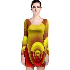 Red Gold Fractal Hypocycloid Long Sleeve Bodycon Dress