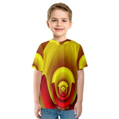 Red Gold Fractal Hypocycloid Kids  Sport Mesh Tee