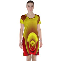 Red Gold Fractal Hypocycloid Short Sleeve Nightdress